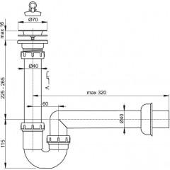 Sifon dřezový trubkový DN40 s nerezovou mřížkou pr.70 ALCAPLAST A800-DN40 A800-DN40