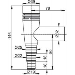 Sifon pračkový s přivzdušněním - na zeď bílý ALCAPLAST plast APS5 (APS5)