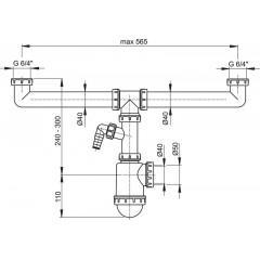 Sifon pro dvoudřez s převlečnými maticemi 6/4 a přípojkou ALCAPLAST A448P-DN50/40 (A448P-DN50/40)