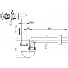 Alca plast Sifon pro odkapávající kondenzát, vodorovný s manžetou - AKS2 (AKS2)