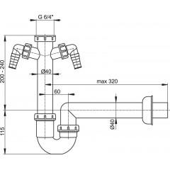 Sifon spodek trubkový A82-DN40 s převlečnou maticí 6/4 a 2x přípojka ALCAPLAST A82-DN40 (A82-DN40)