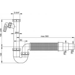 Sifon spodek trubkový A83-DN50/40 s převlečnou maticí 6/4, přípojkou a flexi hadicí ALCAPLAST A83-DN50/40 (A83-DN50/40)