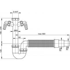 Sifon spodek trubkový A84-DN50/40 s převlečnou maticí 6/4, přípojkou a flexi hadicí ALCAPLAST A84-DN50/40 (A84-DN50/40)