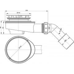 Sifon sprchový 90 SNÍŽENÝ v.65mm+koleno, chrom A491CR d50 Alca Plast, nízký A491CR (A491CR)