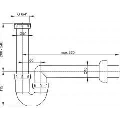 """Alcaplast Sifon trubkový s převlečnou maticí 6/4"""" A80-DN40 (A80-DN40)"""