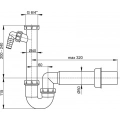 Sifon trubkový spodek 6/4 DN50 s přípojkou ALCAPLAST A81-DN50 (A81-DN50)
