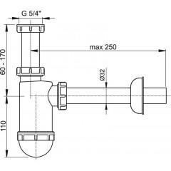 Sifon umyvadlový 5/4 x 32 spodek Alca plast A430 (A430)