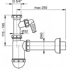 """Sifon umyv. 5/4""""-40 spodek+odb.pračka ALCAPLAST plast A43P (A43P)"""