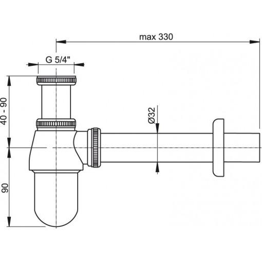 "Sifon umyv. 5/4""x32 A431 spodek kovový ALCAPLAST plast A431 (A431)"