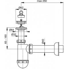 Sifon umyvadlový DN40 nerez mřížka pr.63 ALCAPLAST plast A41 (A41)