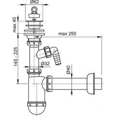 Sifon umyv. DN40 s přípojkou a plastovou mřížkou pr.63 ALCAPLAST A42P (A42P)