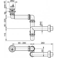 Sifon umyvadlový nábytkový prostorově úsporný 63/40 ALCAPLAST plast A413 (A413)