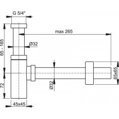 Sifon umyv. 5/4 DN32 DESIGN celokovový hranatý ALCAPLAST A401-BLISTR (A401-BLISTR)