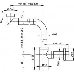Sifon umyvadlový DN32 DESIGN celokovový nábytkový prostorově úsporný ALCAPLAST A403 (A403)