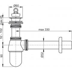 Sifon umyvadlový DN32 s výpustí 5/4 celokovový, ALCAPLAST A437 (A437)