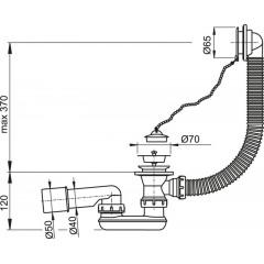 Sifon vanový A501 chrom,komplet ALCAPLAST A501 (A501)