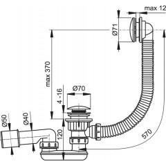 Sifon vanový CLICK CLACK kov-chrom 57cm ; zátka d70mm ALCAPLAST Plast A504KM (A504KM)