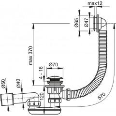 Sifon vanový CLICK CLACK kov-plast 57cm ; zátka d70mm ALCAPLAST Plast A505KM (A505KM)
