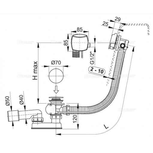ALCAPLAST - Sifon vanový napouštěcí 100cm chrom/kov A564KM1 100 A564KM1-100 A564KM1-100