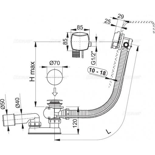 ALCAPLAST - Sifon vanový napouštěcí 100cm chrom/kov pro silnostěnné vany A565KM1 100 A565KM1-100 (A565KM1-100)