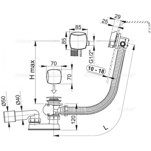 ALCAPLAST - Sifon vanový napouštěcí 100cm chrom/kov pro silnostěnné vany A565KM3 100 A565KM3-100 A565KM3-100