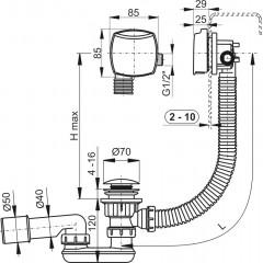 Sifon vanový napouštěcí CLICK CLACK kov-chrom 80cm ; zátka d70mm kulatá ALCAPLAST Plast A508KM-80 (A508KM-80)