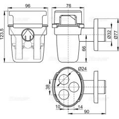 Sifonová nálevka pro odkapávající kondenzát s držákem hadiček, DN32mm ALCAPLAST AKS5 (AKS5)