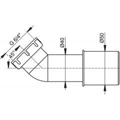 ALCAPLAST - Sifonová redukce-koleno 45° 40/50 - 6/4 matka A52 (A52)