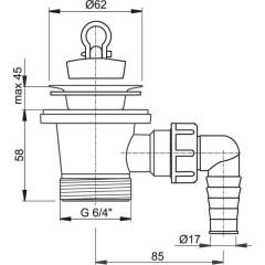 """Sifonová vpusť 6/4""""x63mm s přípojkou, nerez vršek ALCAPLAST plast A31P (A31P)"""