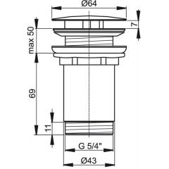 ALCAPLAST - Sifonová vpusť 5/4 pro um.bez přepadu chrom kov velká, neuzavíratelná Alca A396 (A396)
