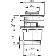 ALCAPLAST - Sifonová vpusť 5/4 click/clack SNÍŽENÁ chrom kov malá zátka Alca A39 (A39)