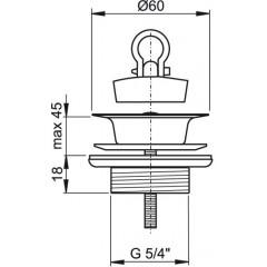 ALCAPLAST - Sifonová vpusť 5/4x60mm celokovová, nerez vršek A439 (A439)