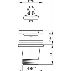 Sifonová vpusť dřezová zvýšená 6/4 s nerezovou mřížkou pr.70 ALCAPLAST A34 (A34)