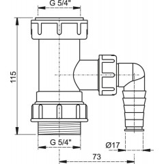 Sifonový mezikus 5/4x5/4 pračka A300 ALCAPLAST plast A300 (A300)