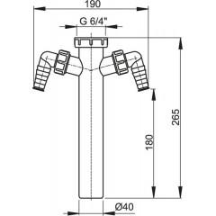 ALCAPLAST - Sifonový mezikus 6/4x40 2xprač A44M / 40 A44M-DN40 (A44M-DN40)