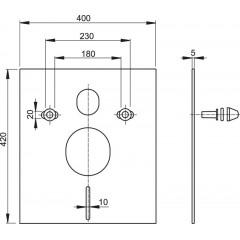 ALCAPLAST - Tlumící izolační deska záv.WC,bidet, BÍLÉ krytky a průchodky, ALCAPLAST, čtverec 40x42 M930 (M930)