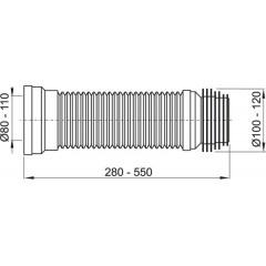 WC flexi přípoj 28-55cm 110mm A97 ALCAPLAST A97 (A97)