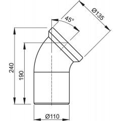 WC koleno přip. bílé 45st. ALCAPLAST A90-45 (A90-45)