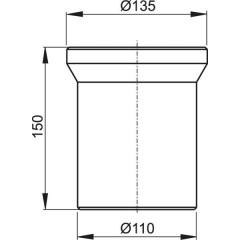 WC připojovací kus bílý 15cm ALCAPLAST plast, dopojení WC - nátrubek 150 mm A91-150 (A91-150)