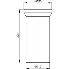 WC připojovací kus bílý 25cm ALCAPLAST plast, dopojení WC - nátrubek 250 mm A91-250 A91-250