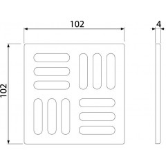 Podl.vpusť-ND Designová mřížka 102x102x4 bronz-antic ALCAPLAST MPV001-ANTIC (MPV001-ANTIC)