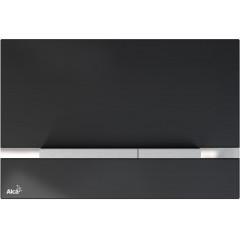 Alcaplast STRIPE sklo-černá, ovládací deska tlačítko, pro předstěnové instalační systémy (STRIPE-GL1204)