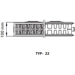 Kermi radiátor Profil bílá V22 500 x 1000 Levý (FTV220501001L1K)
