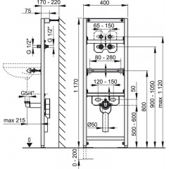 Alcaplast Montážní rám pro umyvadlo s vestavěným sifonem A104AVS/1200