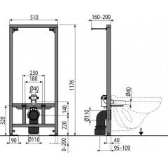 Alcaplast Montážní rám pro závěsné WC stavební výša 1,2m A114/1200 (A114/1200)