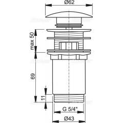 ALCAPLAST - Alca Sifonová vpusť 5/4 click - clack bílá kovová zátka 62 mm čistitelná shora (A392B)