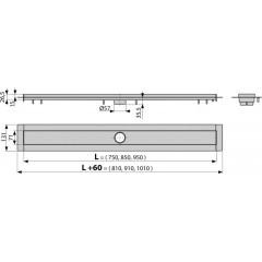 Alcaplast APZ13-850 Modular žlab podlahový ,do prostoru, délka 850mm, nerez kout min. 900mm (APZ13-850)