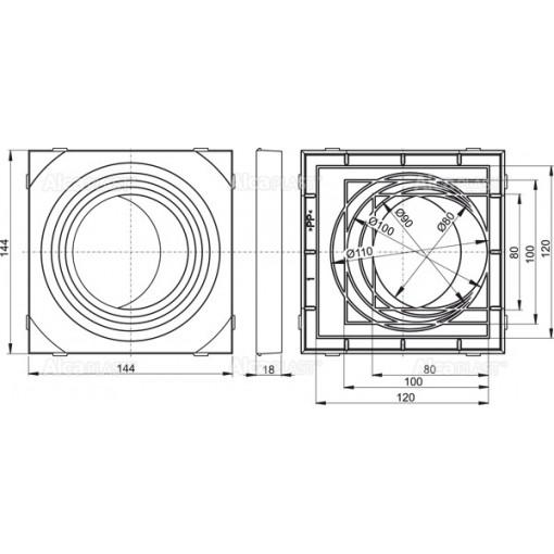 Alcaplast Vložka svodu univerzální – šedá AGV911S (AGV911S)