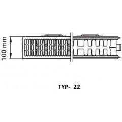 Kermi radiátor PLAN bílá VM22 605 x 1205 Středový ventil vpravo (PTM220601201R1K)