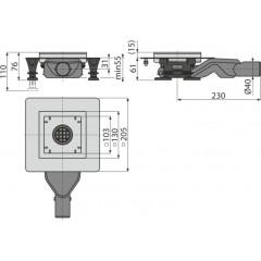 Alcaplast Podlahová vpust nerezová 130 × 130/40 boční, bez mřížky, vodní zápachová uzávěra (APV110)